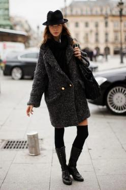 I don't know who took this uncredited little chestnut, but I am charmed by the long coat, knee highs and bowler hat. For. The. Win. #Streetstyle.: Sock, Oversized Coat, Fashion, Winter, Style Inspiration, Street Style, Has, Coats