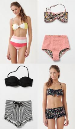 I knew it! Retro bikinis are finally acceptable again. I don't care if they look like granny panties, I think they are timeless. Maybe granny was a classy one..: Vintage Swimsuits, Fashion, Inspired Swimsuits, Fun Swimsuits, Retro Swimsuits, Bikinis,