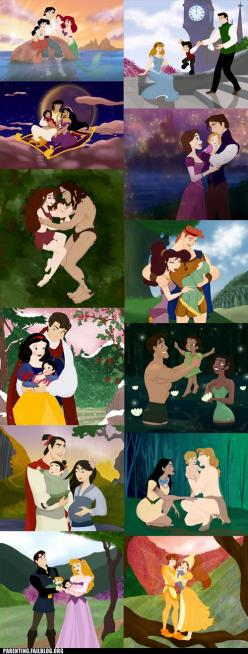 I love Disney!! I think these are cute... (even if inaccurate to the true stories) and (even though Thumbilina wasn't Disney and Belle should be there) Some of the arguing comments are hilarious btw: Disney Stuff, Disney Families, Disney Princesses, H