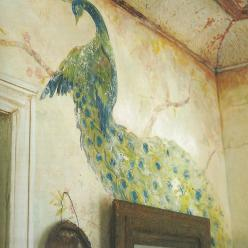 I use to have birds painted on my wall. Not this fancy though.: Magnolias, Pearl Ranch, Peacocks, Pearls, Wall Painting, Art, Peacock Mural, Magnolia Pearl
