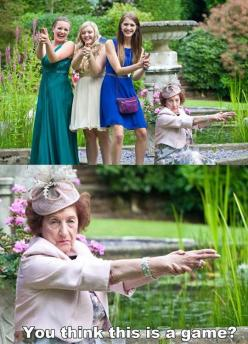 I want to know that story of that lady. Has she been in a war? Is she a police officer? Does she spend her weekends at the shooting range? That lady knows what she's doing.: Giggle, Funny Pictures, Funny Stuff, Humor, Game, Things, Hilarious, Grandma