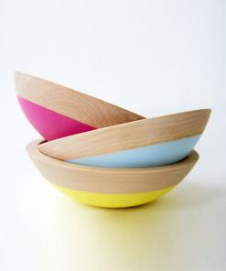 in love with these dipped salad bowls. The pop of color is stellar!: Dipped Bowls, Spring Fling, Dipped Salad, Spring Dipped, Kitchen Products, Salad Bowls, Bright Colors