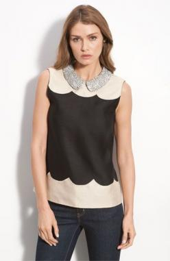 kate spade new york 'francoise' rhinestone collar sleeveless top: Sleeveless Tops, Kate Spade Dress, Collars, Collar Dress, Katespade, Collar Sleeveless