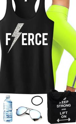 Look super cute at the #Gym with this #Fitness / #Workout Apparel! Featuring a FIERCE Lightning Tank and KEEP STRONG LIFT ON Tote. By NoBullWomanApparel, $24.99 on Etsy! Click here to buy https://www.etsy.com/listing/174651408/fierce-glitter-lightning-wor
