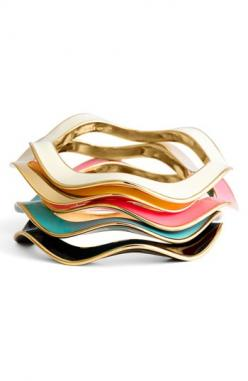 Love an armful of these 'Make Waves' bangles ~ Kate Spade ( http://www.katespade.com/on/demandware.store/Sites-Kate-Site/default/Search-Show?q=make%20waves%20bangle&cgid;=kate-spade ): Bracelet, Fashion, Colorful Bangles, Jewelry, New York, Ac