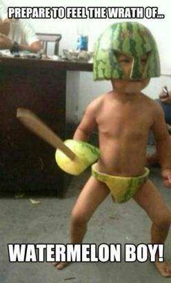 Marvel comics is searching for new heroes... Watermelon Boy!: Watermelon Warrior, Funny Stuff, Humor, Baby, Kids, Things, Smile, Watermelon Boy