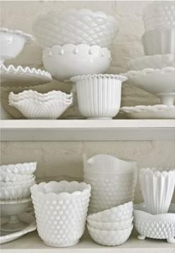 Milk Glass: There's not enough milk glass for me to love. It's one of the bazillion reasons I love Lindsey's wedding so much! http://lostandfawned.wordpress.com/: Glasses, Milk Glass, Vintage Milk, Glass Collection, Milkglass, White Milk, Hobn