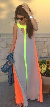 Neutral + neon. This would be awesome honeymoon/ tropical vacation dress: Maxi Dresses, Summer Dress, Neon Maxi Dress, Style, Maxis, Vacation Dress