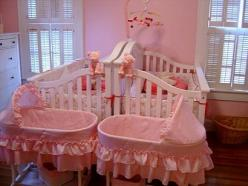 never thought of putting cribs back to back for twins, this is adorable: Kids Bedrooms, Kid Bedrooms, Shared Room, Twin Cot, Twin Girls, Bedroom Kids, Thought, Baby Room