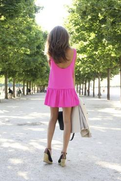 obsessed with this color. why can't i find a reasonably priced blouse this color....?: Fashion, Summer Dress, Street Style, Outfit, Dresses, Spring Summer, Hot Pink, Pink Dress