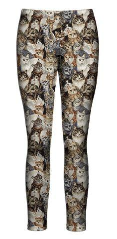 Oh. My. God. WORDS CAN'T EVEN DESCRIBE HOW I AM FEELING RIGHT NOW. IT'S LIKE A COLLAGE OF COZY KITTIES ON YOUR LEGS! HAHAHH  THIS IS AMAZING.: Lisa Cats, Cats ️, Style, Cats Leggings I, Cats Leggings Why, Crazy Cat, Things Cats, Cat Lady