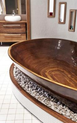 Relaxing and Chill Wooden Bathtub.  More Woodworking Projects on www.woodworkerz.com: Wooden Bathtubs, Dream Bathtub, Interior, Zen Bathroom, Woodenbathtub, Amazing Bathroom, Unique Bathroom