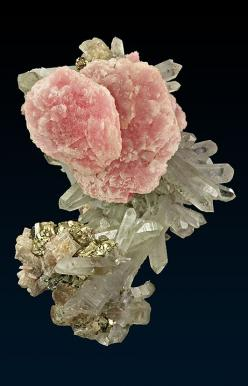 Rhodochrosite with Quartz & Pyrite: Crystals Minerals Gems, Quartz Gemstones, Minerals Crystals Gems, Colorful Gemstones, Rocks Minerals Crystals, Rocks Gems Minerals, Gems Rocks Crystals