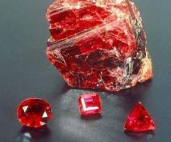 Ruby from Burma, Africa  The ruby is classified as on the the four precious stones, the other is a diamond, sapphire and emerald.: Crystals, Precious Stones, Ruby Gemstones, Red, Gem Stones, Diamond, Rocks, Minerals