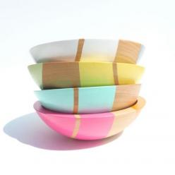 "Set of FOUR Modern Pastel Hardwood 7"" Bowls: Wooden Bowls, Kitchen, Things, Modern Pastel, Lighter Side, Pastel Hardwood, Design"