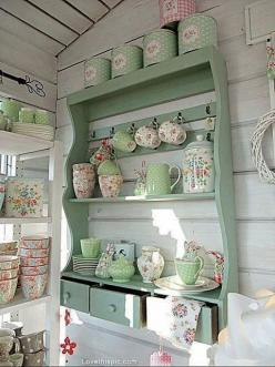 Shabby Chic Kitchen Shelf Pictures, Photos, and Images for Facebook, Tumblr, Pinterest, and Twitter: Kitchens, Decor, Ideas, Shabby Chic, Vintage, Green, Cottage, House, Shabbychic