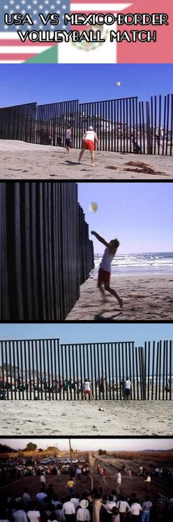 That's awesome.: Giggle, Faith In Humanity Restored, Mexico Border, Faith Restored, Border Volleyball, Bucket Lists