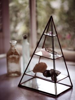 the perfect way to store my crystals (by ABJ glassworks + free people): Collection Display, Display Case, Pyramid, Abj Glassworks, Free People, Display Crystals