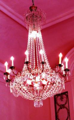 This chandelier is for all the girlies who like fancy stuff! My room is more cozy, but hey, there are some really fancy rooms out there :): Decor, Pink Chandelier, Crystal Chandeliers, Pretty, Light, Beautiful Chandeliers