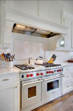 Transitional and Traditional Interior Design Ideas - Home Bunch - An Interior Design & Luxury Homes Blog: Wolf Range, Kitchen Backsplash, White Subway Tile, House, Subway Tiles, Kitchen Ideas, Design, White Kitchens