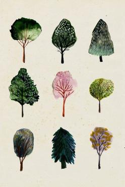 Tree Watercolor Illustration: Trees Print, Art, Trees Illustration, Water Color, Watercolour Trees, Tree Illustration, Watercolor Trees, Drawing