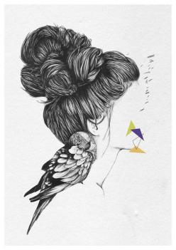 Un rêve oublié - A4 print by Cheyenne Illustration  ::idea:: with bunnies and long hair that turns into woods: Face Sketch, Drawing Face, Inspirational Drawing, Woman Illustration, Amazing Sketch, Fashion Illustrations Faces, Woman Face Drawing