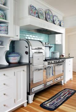 white and blue kitchen >> Check out this awesome stove, I have never seen anything like it, but I want it!: Kitchens, Vintage Stove, Subway Tile, Blue Tile, Kitchen Ideas, Vintage Kitchen