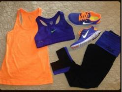 Workout clothes: Orange, Workout Gear, Fitness Gear, Workout Outfits, Nike Shoes Outlet, Nike Outfits, Workout Clothes