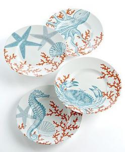 222 Fifth Dinnerware, Set of 4 Coastal Life Assorted Dessert Plates (I might need these): Desserts, Beach House, 222, Dinnerware Sets, Dessert Plates, Coastal Life