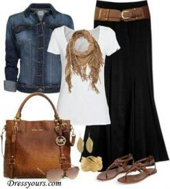 3. Church outfit: This outfit is great for Church because you've got the long skirt, that isn't exposing any skin, and is very fashionable. this is something I would defiantly wear to church.: Clothing Style, Dress, Black Maxi, Denim Jackets, Blac