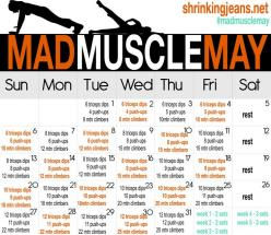 """MAD MUSCLE"" May workout calendar ~ working out your ARMS for sure!  (check out the list of other workout calendars here: http://shrinkingjeans.net/category/move-it/monthly-workout-calendar/): Monthly Challenge, Mad Muscle, Arm Workout, Fitness, W"