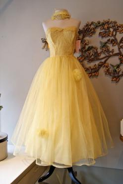 50s Dress: Wedding Dresses Vintage, 1950S Yellow, 50S Wedding Dresses, Vintage 1950S, 1950S Party Dresses, Yellow Tulle, Partydress, 50S Dresses