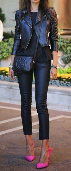 55+ Fall Outfit Ideas, super cute clothing inspiration for fall!: All Black, Black Leather, Pink Heels, Black Outfit, Hot Pink, Leather Outfit, Pink Pumps, Pink Shoes