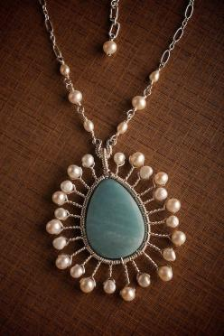 """-All components are Sterling Silver.  -Lovely sky blue Amazonite drop.  -High quality white Pearls in two different sizes and shapes.  -The pendant measures 1 5/8"""" x 1 7/8"""", the chain is composed of Pearl links and a delicate but strong chain meas"""