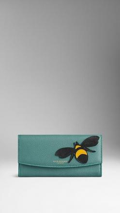 Burberry Aqua Green Bee Detail Leather Continental Wallet - A grainy leather wallet with distinctive bee detail.  The design features a foldover front with press-stud closure.  Discover more accessories at Burberry.com: Burberry Com Women, Bees, Burberry