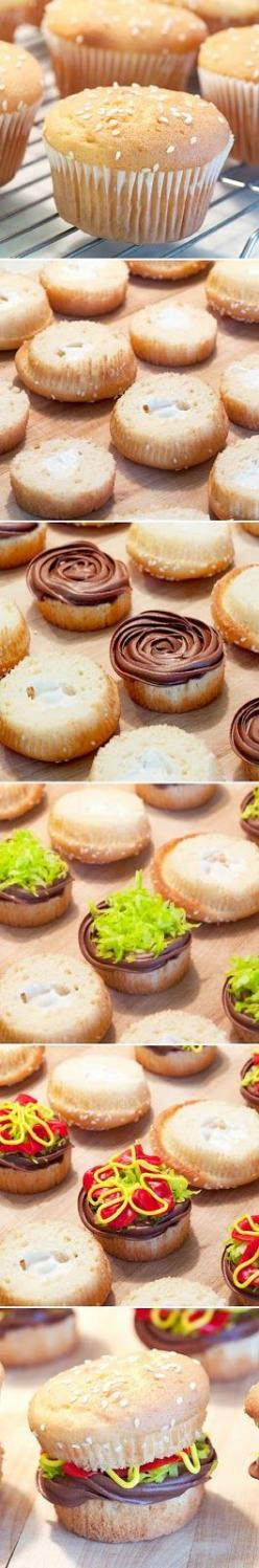 Burger Cupcakes...This would be so cute for a summer bbq, birthday, or housewarming <3: Desserts, Idea, Sweet, Cupcake Recipes, Food, Hamburger Cupcakes, Cup Cake, Burgers