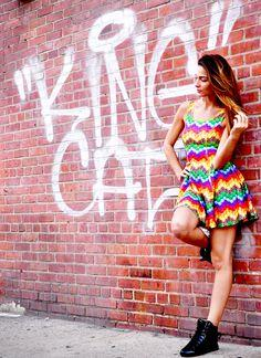 Candy Crush Chevron Skater Dress by Zara Terez