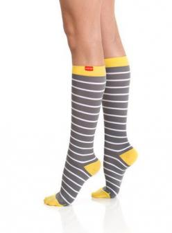 Compression socks that aren't boring. From Vim & Vigr at Ease Living.: Nautical Stripes, Modern Compression, Style, Heel Nylon, Yellow Heels, Nylons, Compression Socks, Products
