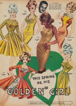 Creepy Mr Frederick's floating head up there watches over the pointy boobies.: Frederick'S Of Hollywood, Vintage Fashion, 1960S, Dress, Golden Girls, Retro, Photo