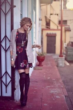 Cute dress and thigh high socks: Style, High Socks, Outfit, Thigh Highs, Knee Highs, Fall Winter, Thigh High Sock, Floral Dresses