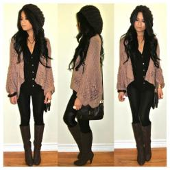 : Cute Fall Outfits, Dressy Casual, Fall Style, Cardigan, Cute Outfits For Fall, Black Outfit, Fall Fashion, Brown, Fall Winter