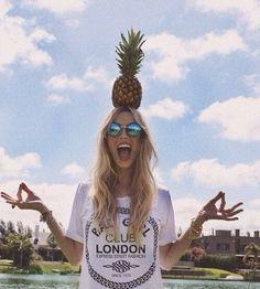 "danielle: ""i could shoot that pineapple off your head. or i could accidentally aim downwards by a few inches."": Pineapple Head, Fashion, Girl, Style, We Heart It, Pictures, Summertime, Photography"