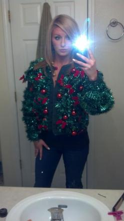 DIY ugly sweater... Garland, bows, and ornaments...: Holiday, Diy Ugly Christmas Sweaters, Christmas Ugly Sweater Ideas, Ugly Christmas Sweater Ideas, Ugly Xmas, Diy Ugly Sweaters, Ugly Sweater Party Ideas, Xmas Sweaters, Diy Ugly Sweater Ideas