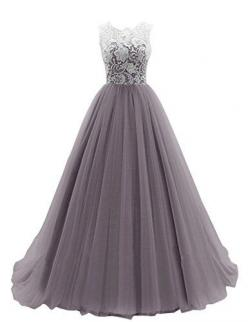 Dresstells Women's Long Tulle Prom Dress Dance Gown with Lace: $119.99 - $148.00 (On sale from $356.00): Long Prom Dress, Long Tulle Prom Dress, Formal Grey Dress, Long Lace Prom Dress, Long Sleeve Prom Dress, Long Grey Prom Dress, Lace Prom Dress Wit