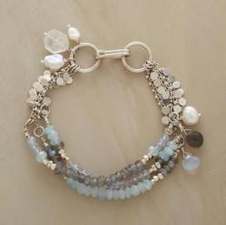 GALLERY BRACELET -- The watery hues of a British masterpiece inspired Naomi Herndon's hand strung strands featuring aquamarine, labradorite and chalcedony. Sterling silver: Featuring Aquamarine, Masterpiece Inspired, Strands Featuring, Inspired Naomi, Bri