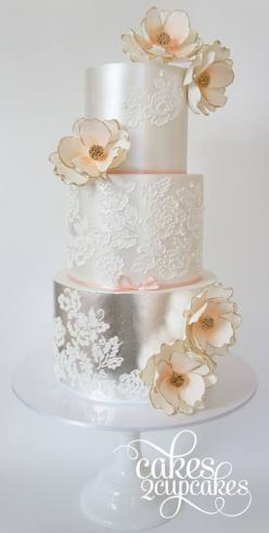 Gorgeous Wedding Cake Inspiration from Cakes 2 Cupcakes: Cakes Cupcakes Muffins Pies, Metallic Wedding Cakes, Amazing Cakes, Weddings, Cake Inspiration, Taarten Cupcakes, Gold And Silver Cupcakes, Gorgeous Wedding Cakes, Silver Wedding Cakes