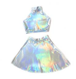 Holographic Twin Set  Is this awesome or what!?: Holographic Twin, Rave Dress, Holographic Dress, Halloween Rave Costume, Halloween Rave Outfits, Holographic Outfit, Rave Halloween Costume, Cooked Karma