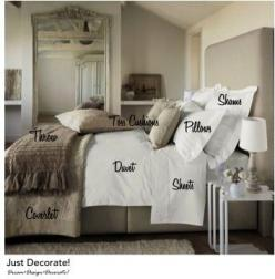 How to make a bed, layering the linens and pillows to have it look like a magazine photo shoot - sheets, duvet, coverlet, throw, shams, pillows, toss cushions: Guest Room, Interior, Home Bedroom, Idea, Dream, Masterbedroom, Master Bedrooms