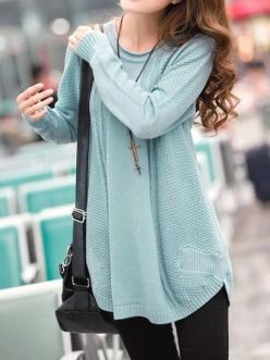 I found 'Blue Sweet New Autumn Fashion Women Knitting Round Neck Long Sleeve Sweater N603-1601-38bl' on Wish, check it out!: Style, Dream Closet, Outfit, Comfy Sweater, Big Sweater, Fall Winter