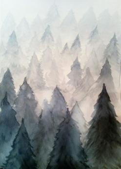 Just once, I would Love to see a pink fireworks display like this. Beautiful!: Pine Tree Drawing, Watercolour Mountain, Water Color Tree, Watercolor Pine Tree, Art, Watercolor Mountain, Pine Trees, Watercolor Trees